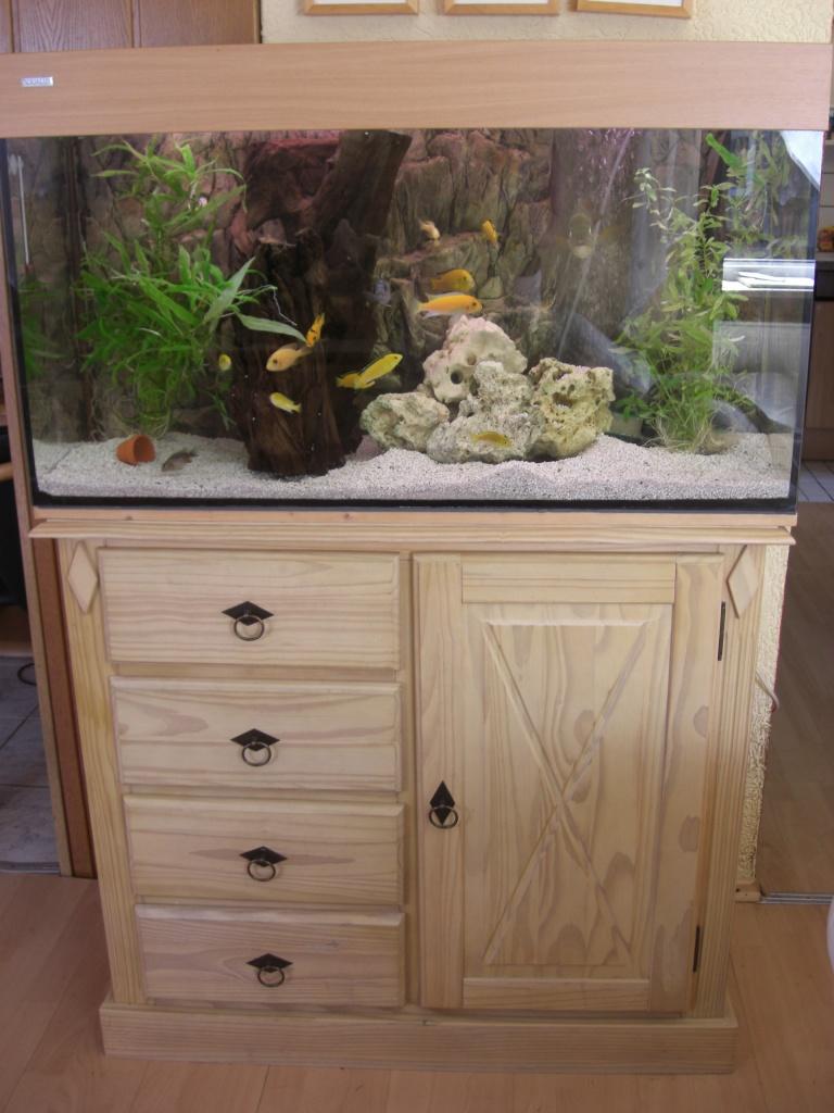 200 liter komplett aquarium aqua lux 100x50x40 mit for Aquarium unterschrank